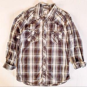 Men's BKE Plaid Long Sleeve Pearl Snap Shirt